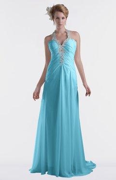 ColsBM Eden Light Blue Cinderella A-line Sweetheart Sleeveless Criss-cross Straps Brush Train Plus Size Bridesmaid Dresses