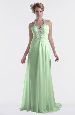 ColsBM Eden Light Green Cinderella A-line Sweetheart Sleeveless Criss-cross Straps Brush Train Plus Size Bridesmaid Dresses