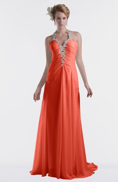 ColsBM Eden Living Coral Cinderella A-line Sweetheart Sleeveless Criss-cross Straps Brush Train Plus Size Bridesmaid Dresses