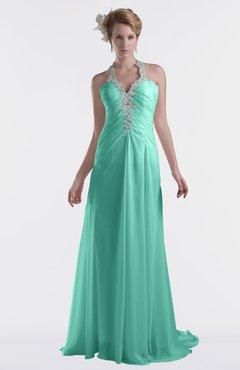 ColsBM Eden Mint Green Cinderella A-line Sweetheart Sleeveless Criss-cross Straps Brush Train Plus Size Bridesmaid Dresses