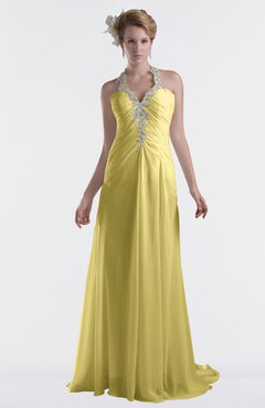 ColsBM Eden Misted Yellow Cinderella A-line Sweetheart Sleeveless Criss-cross Straps Brush Train Plus Size Bridesmaid Dresses