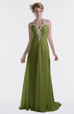 ColsBM Eden Olive Green Cinderella A-line Sweetheart Sleeveless Criss-cross Straps Brush Train Plus Size Bridesmaid Dresses