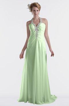 ColsBM Eden Pale Green Cinderella A-line Sweetheart Sleeveless Criss-cross Straps Brush Train Plus Size Bridesmaid Dresses