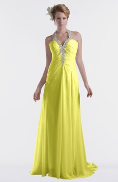 ColsBM Eden Pale Yellow Cinderella A-line Sweetheart Sleeveless Criss-cross Straps Brush Train Plus Size Bridesmaid Dresses