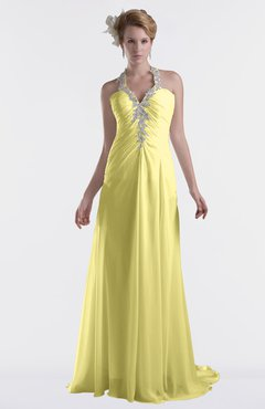 ColsBM Eden Pastel Yellow Cinderella A-line Sweetheart Sleeveless Criss-cross Straps Brush Train Plus Size Bridesmaid Dresses