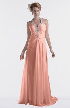 ColsBM Eden Peach Cinderella A-line Sweetheart Sleeveless Criss-cross Straps Brush Train Plus Size Bridesmaid Dresses