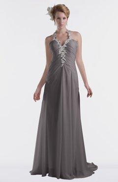ColsBM Eden Ridge Grey Cinderella A-line Sweetheart Sleeveless Criss-cross Straps Brush Train Plus Size Bridesmaid Dresses