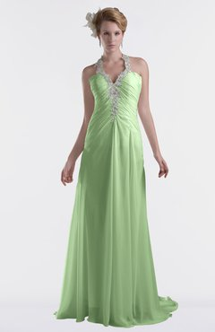 ColsBM Eden Sage Green Cinderella A-line Sweetheart Sleeveless Criss-cross Straps Brush Train Plus Size Bridesmaid Dresses