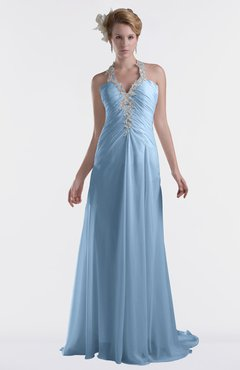 ColsBM Eden Sky Blue Cinderella A-line Sweetheart Sleeveless Criss-cross Straps Brush Train Plus Size Bridesmaid Dresses