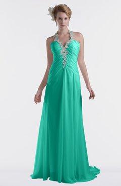 ColsBM Eden Viridian Green Cinderella A-line Sweetheart Sleeveless Criss-cross Straps Brush Train Plus Size Bridesmaid Dresses