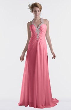ColsBM Eden Watermelon Cinderella A-line Sweetheart Sleeveless Criss-cross Straps Brush Train Plus Size Bridesmaid Dresses