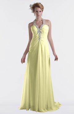 ColsBM Eden Wax Yellow Cinderella A-line Sweetheart Sleeveless Criss-cross Straps Brush Train Plus Size Bridesmaid Dresses