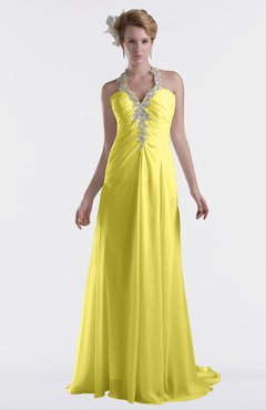 ColsBM Eden Yellow Iris Cinderella A-line Sweetheart Sleeveless Criss-cross Straps Brush Train Plus Size Bridesmaid Dresses
