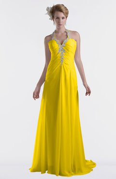 ColsBM Eden Yellow Cinderella A-line Sweetheart Sleeveless Criss-cross Straps Brush Train Plus Size Bridesmaid Dresses