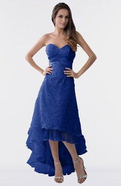 3de7a8651ea ColsBM Isabel Nautical Blue Simple A-line Zipper Tea Length Paillette Plus  Size Bridesmaid Dresses