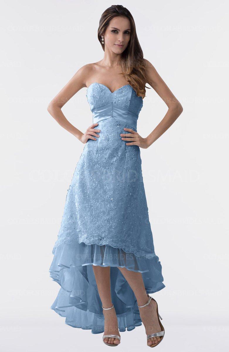 379cb0bfbd4 ColsBM Isabel Faded Denim Simple A-line Zipper Tea Length Paillette Plus  Size Bridesmaid Dresses