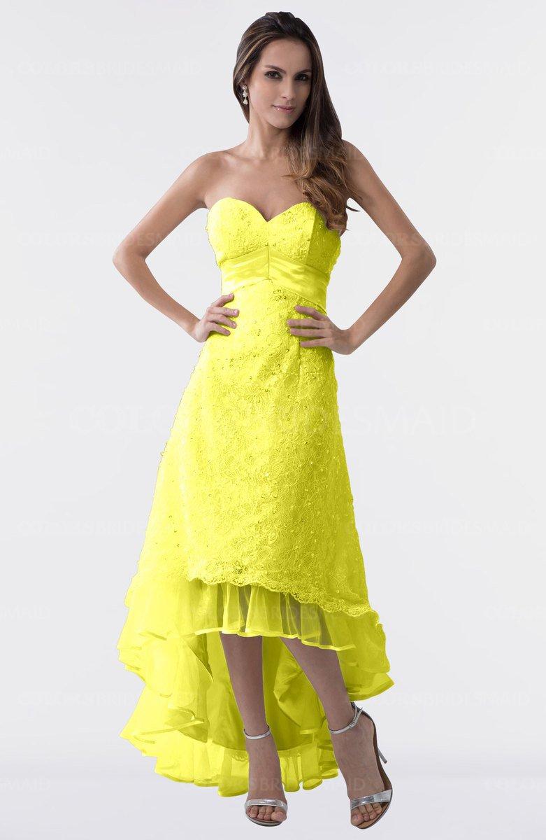 11dc21f3847 ColsBM Isabel Pale Yellow Simple A-line Zipper Tea Length Paillette Plus  Size Bridesmaid Dresses
