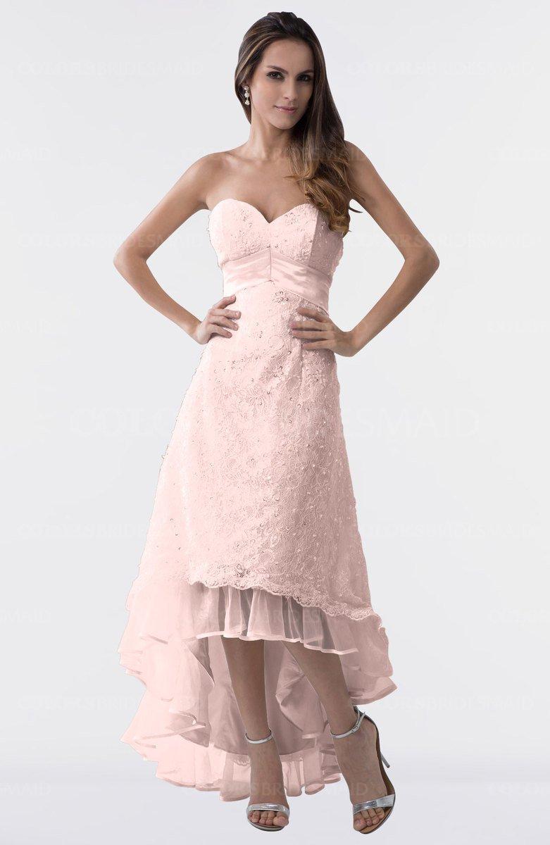 Colsbm Isabel Pastel Pink Simple A Line Zipper Tea Length Paillette Plus Size Bridesmaid Dresses
