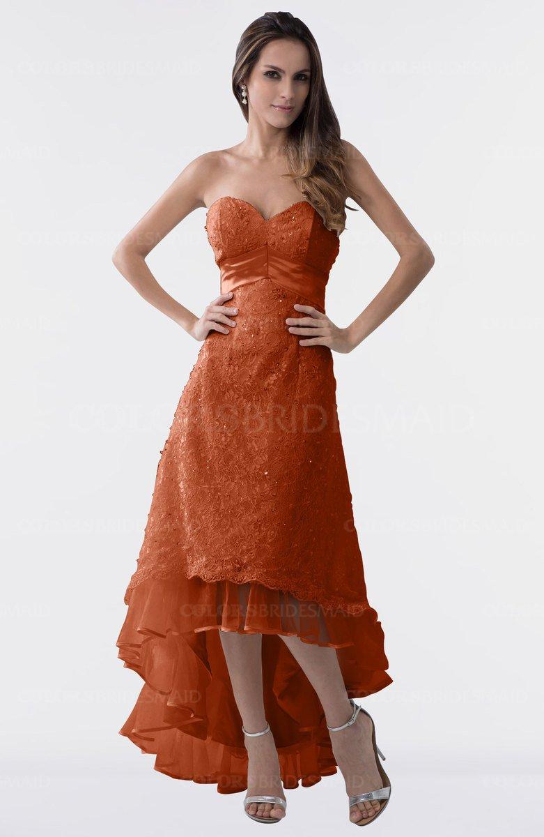 Colsbm Isabel Rust Simple A Line Zipper Tea Length Paillette Plus Size Bridesmaid Dresses