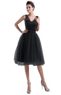 ColsBM Ashley Black Plain Illusion Zipper Knee Length Flower Plus Size Bridesmaid Dresses