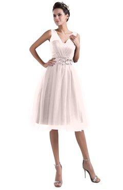 ColsBM Ashley Blush Plain Illusion Zipper Knee Length Flower Plus Size Bridesmaid Dresses