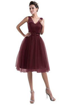 ColsBM Ashley Burgundy Plain Illusion Zipper Knee Length Flower Plus Size Bridesmaid Dresses