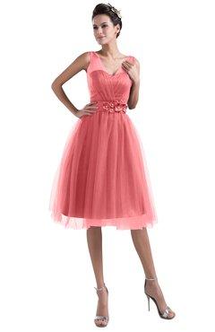 ColsBM Ashley Coral Plain Illusion Zipper Knee Length Flower Plus Size Bridesmaid Dresses