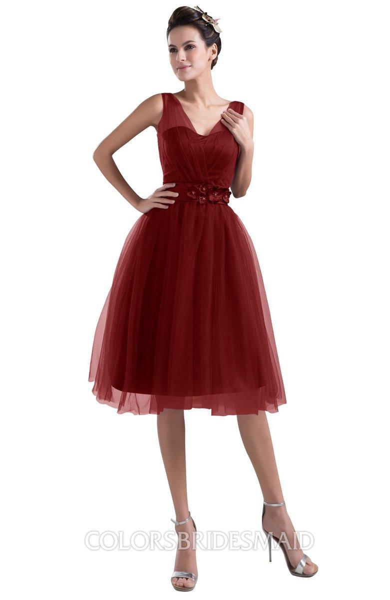 e0686ac237 ColsBM Ashley Dark Red Plain Illusion Zipper Knee Length Flower Plus Size Bridesmaid  Dresses