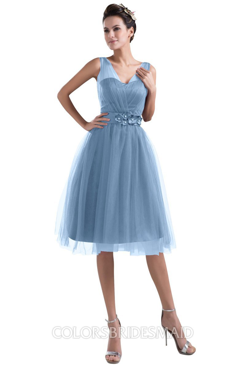 7f0bbddd9f6 ColsBM Ashley Faded Denim Plain Illusion Zipper Knee Length Flower Plus  Size Bridesmaid Dresses