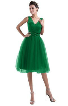 ColsBM Ashley Green Plain Illusion Zipper Knee Length Flower Plus Size Bridesmaid Dresses