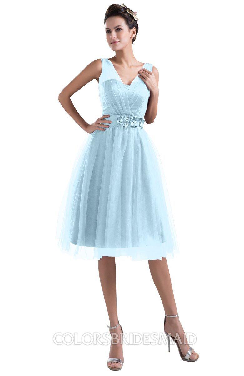 Colsbm Ashley Ice Blue Plain Illusion Zipper Knee Length Flower Plus Size Bridesmaid Dresses