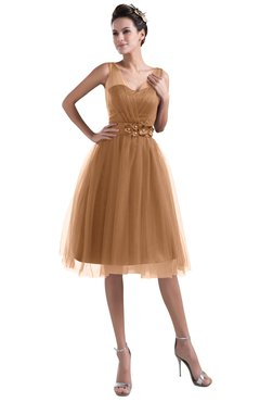 Colsbm Ashley Light Brown Plain Illusion Zipper Knee Length Flower Plus Size Bridesmaid Dresses
