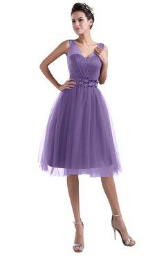 ColsBM Ashley Lilac Plain Illusion Zipper Knee Length Flower Plus Size Bridesmaid Dresses