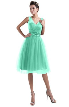 6ffcd6ba561d ColsBM Ashley Mint Green Plain Illusion Zipper Knee Length Flower Plus Size  Bridesmaid Dresses
