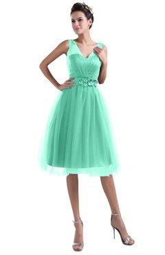 ColsBM Ashley Mint Green Plain Illusion Zipper Knee Length Flower Plus Size Bridesmaid Dresses