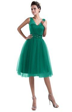 ColsBM Ashley Mint Plain Illusion Zipper Knee Length Flower Plus Size Bridesmaid Dresses