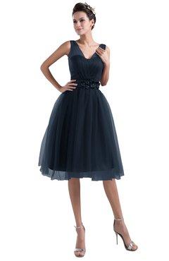 ColsBM Ashley Navy Blue Plain Illusion Zipper Knee Length Flower Plus Size Bridesmaid Dresses