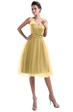 ColsBM Ashley Ochre Plain Illusion Zipper Knee Length Flower Plus Size Bridesmaid Dresses