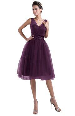22eb679ddbed ColsBM Ashley Plum Plain Illusion Zipper Knee Length Flower Plus Size Bridesmaid  Dresses