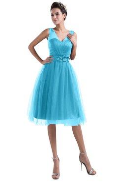 48b4663120f0 ColsBM Ashley River Blue Plain Illusion Zipper Knee Length Flower Plus Size Bridesmaid  Dresses
