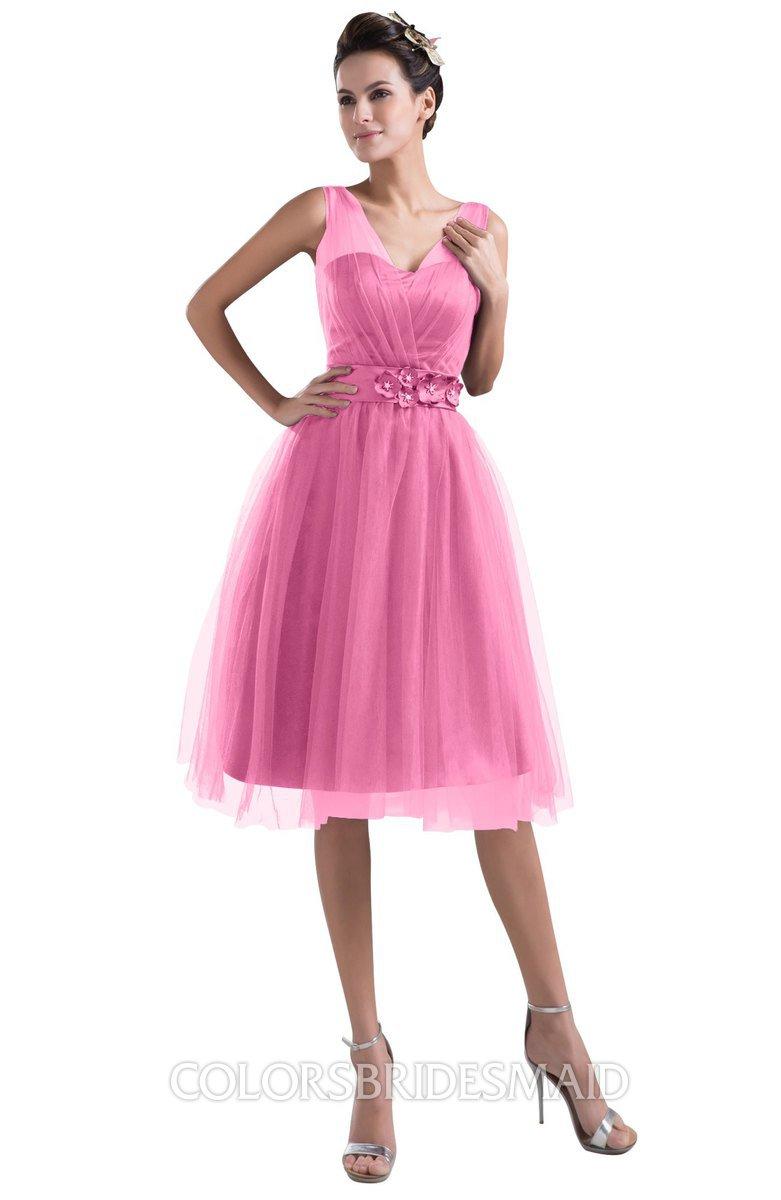 84e4cd3cf13 ColsBM Ashley Rose Pink Plain Illusion Zipper Knee Length Flower Plus Size Bridesmaid  Dresses
