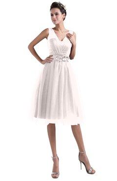 ColsBM Ashley Rosewater Pink Plain Illusion Zipper Knee Length Flower Plus Size Bridesmaid Dresses