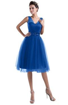 ColsBM Ashley Royal Blue Plain Illusion Zipper Knee Length Flower Plus Size Bridesmaid Dresses