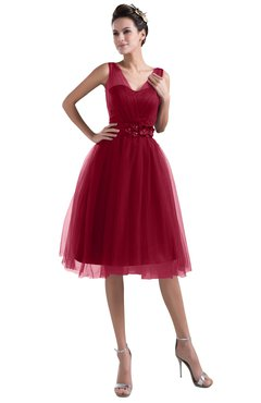 ColsBM Ashley Scooter Plain Illusion Zipper Knee Length Flower Plus Size Bridesmaid Dresses