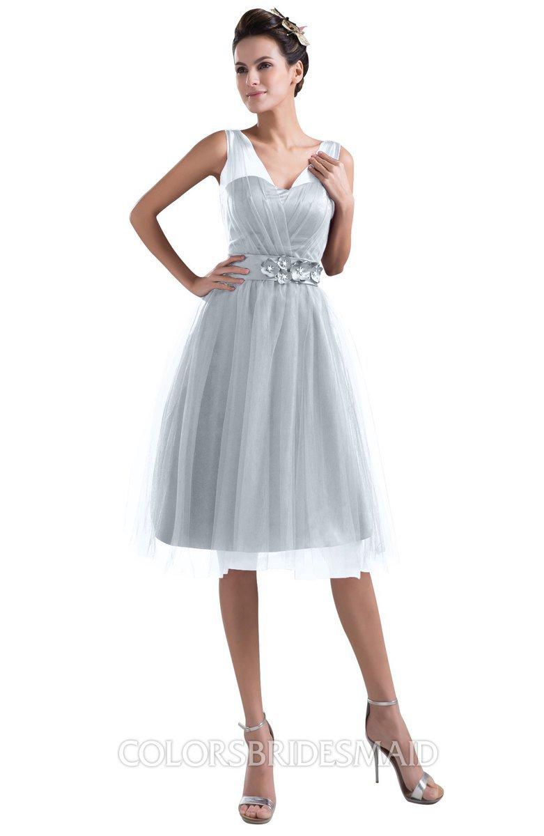 e087f0c2aaa ColsBM Ashley Silver Plain Illusion Zipper Knee Length Flower Plus Size Bridesmaid  Dresses