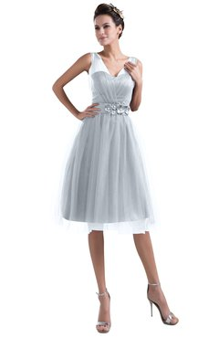 Silver Knee Length Bridesmaid Dresses