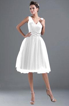 ColsBM Ashley White Plain Illusion Zipper Knee Length Flower Plus Size Bridesmaid Dresses