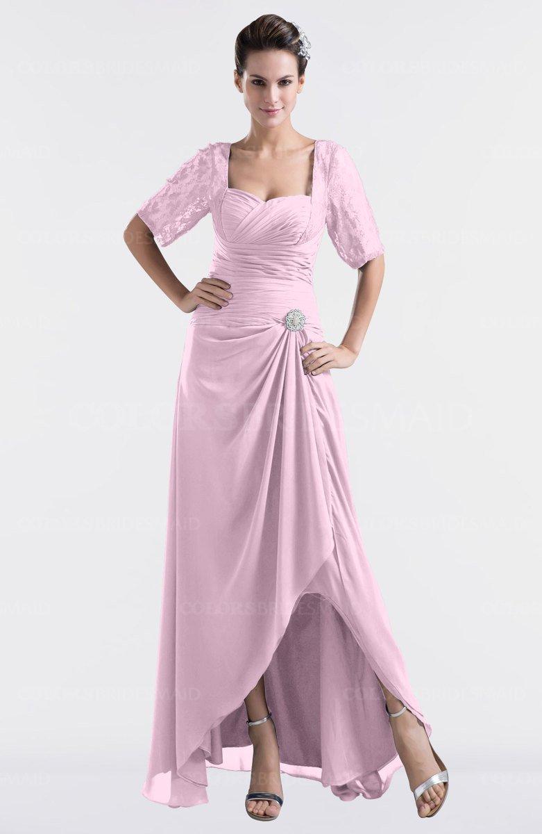 Colsbm Emilia Baby Pink Modest Sweetheart Short Sleeve Zip Up Floor Length Plus Size Bridesmaid Dresses