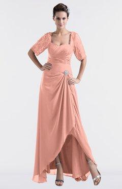 d3675a67d2 ColsBM Emilia Peach Modest Sweetheart Short Sleeve Zip up Floor Length Plus  Size Bridesmaid Dresses