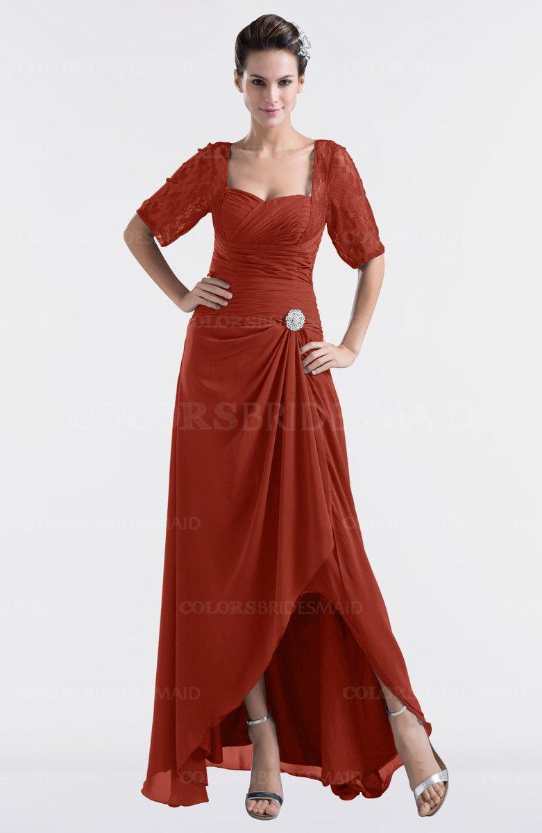 205aacba6d5 ColsBM Emilia Rust Modest Sweetheart Short Sleeve Zip up Floor Length Plus  Size Bridesmaid Dresses